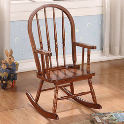 "Acme Furniture - Kloris Youth Rocking Chair in Tobacco - Kloris Youth Rocking Chair in Tobacco; Finish: Tobacco; Semi RTA, Bow Back (Spindle); Materials: Solid Rbw & Ply; Weight: 10 lbs; Dimensions: 21 x 16"" x 28""H"
