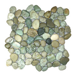 "CNK Tile - Glazed Sea Green Pebble Tile - Each pebble is carefully selected and hand-sorted according to color, size and shape in order to ensure the highest quality pebble tile available.  The stones are attached to a sturdy mesh backing using non-toxic, environmentally safe glue.  Because of the unique pattern in which our tile is created they fit together seamlessly when installed so you can't tell where one tile ends and the next begins!     Usage:    Shower floor, bathroom floor, general flooring, backsplashes, swimming pools, patios, fireplaces and more.  Interior & exterior. Commercial & residential.     Details:    Sheet Backing: Mesh   Sheet Dimensions: 12"" x 12""   Pebble size: Approx 3/4"" to 2 1/2""   Thickness: Approx 1/2""   Finish: Glazed Green"