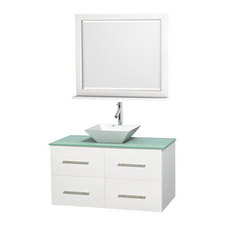 "Wyndham Collection - Centra Bathroom Vanity in White,GN Glass Top,Pyra White Sink,36"" Mir - Simplicity and elegance combine in the perfect lines of the Centra vanity by the Wyndham Collection. If cutting-edge contemporary design is your style then the Centra vanity is for you - modern, chic and built to last a lifetime. Available with green glass, pure white man-made stone, ivory marble or white carrera marble counters, with stunning vessel or undermount sink(s) and matching mirror(s). Featuring soft close door hinges, drawer glides, and meticulously finished with brushed chrome hardware. The attention to detail on this beautiful vanity is second to none."