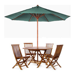 All Things Cedar - Teak Round Table Set  - Green - This patio set is constructed of solid Teak using mortise and tennon joinery. The table is offered in a 48 inch round or octagon shape and has 1-7/8 inch umbrella hole with lower pole stabilizer to accept our Teak Market Umbrella or any other similar umbrella. A solid brass gromet and cap are also provided to plug the umbrella hole when not in use. The chairs are egronomically designed with a slight wave to the seat and a comfortable recline to the back.  Shown here in blue our Market Umbrella is made from premium solid Teak that won't warp or rot like other wood might. The additional crown of fabric at the top is called a wind vent. This unique design allows for wind gusts to escape through the vent, thus making it a very stable umbrella to own. Our Market Umbrella comes with a  solid 1-7/8 inch teak pole,  extra duty 8-spoke ribbed cage and a generous 10 foot vented canopy making it ideal for the Beach, Cottage or any commercial or residential outdoor setting. Available in 3 colors: forest  green, white and nautical blue. Item is made to order.