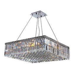 "Worldwide Lighting - Cascade 12 Light Chrome Finish and Clear Crystal 24"" Square Chandelier - This stunning 12-light crystal chandelier only uses the best quality material and workmanship ensuring a beautiful heirloom quality piece. Featuring a radiant chrome finish and finely cut premium grade clear crystals with a lead content of 30%, this elegant chandelier will give any room sparkle and glamour. Worldwide Lighting Corporation is a premier designer manufacturer and direct importer of fine quality chandeliers, surface mounts, and sconces for your home at a reasonable price. You will find unmatched quality and artistry in every luminaire we manufacture."