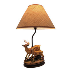Buck and Doe Deer Table Lamp with Burlap Shade 20 Inch - This table lamp features a pair of deer and is a lovely accent to the homes of wildlife enthusiasts. Made of cold cast resin, it measures 20 inches tall with an 8 inch by 5 1/2 inch base. The coordinating beige burlap shade measures 13 inches in diameter and is lined with plastic to keep its shape. The lamp uses up to a 60 watt (max) type A bulb (not included), and has a black 6 foot long power cord.