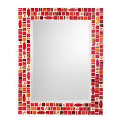 """Mosaic Mirror - Red & Orange (Handmade), 30"""" X 24"""", Vertical - MIRROR DESCRIPTION"""
