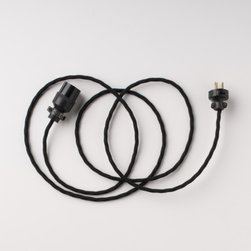 Schoolhouse Cloth Extension Cord, Black - I love the look of this black extension cord. It adds to the drama of any light fixture.