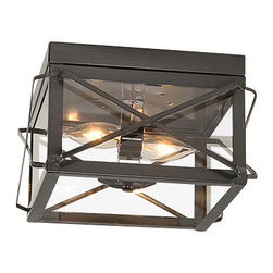 Irvin's Tinware - Double Ceiling Lights with Folded Bars, Country Tin - Practical and decorative are what we use to describe this ceiling light. 60 watt max. bulbs provide plenty of light in a hallway or a bedroom.