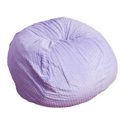 Best Selling Home Decor - Eloise Purple Minky Fabric Bean Bag - Comfortable and durable, this bean bag ottoman is filled with long-lasting polystyrene beans. They are perfect for a bedroom, home theater rooms, family and game rooms. Color: Various; Materials: Microfiber suede, polystyrene beans; Weight: 5 pounds; Diameter: 22 inches; Fill: Polystyrene beans; Care Instructions: Spot Clean; Dimensions: 34 inches high x 37 inches wide x 38 inches deep; Made in the US; Kid friendly