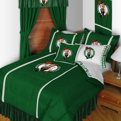 "NBA Boston Celtics Bedding and Room Decorations - Whether game day or a regular night's sleep, make your room shout ""A true Boston Celtics fan lives and sleeps here!"" We have a wide range of bedding and room decor products that will make quite an impression. Click the link below to view all items available for purchase."