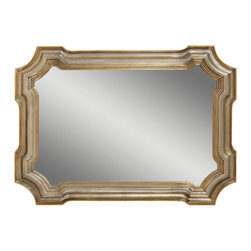 Bassett Mirror - Gold-Silver Leaf Shaped Rectangle Wall Mirror - Gold And Silver Leaf Finish - Shaped Rectangle. Measures: 31 in. W x 43 in. H.