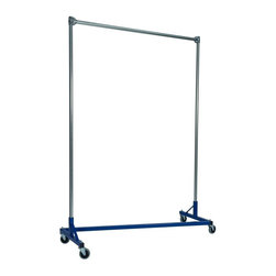 Z Racks - 5 ft. Heavy Duty Z-Rack Single Rail Garment R - Base Color: Blue. 500lb capacity. 14 gauge, 60 in. Long steel base (Environmentally safe powder coated finish ). 16 gauge, 84 in. upright bars and hang rail. 1 5/16 outside diameter upright bars and hang rail. Grey non-marking soft rubber with TP center 4 in. casters. Made in the USA. 63 in. L x 23 in. W x 91 in. HWith 82 in. of vertical hang space, and 58 in. of horizontal space, this Z- rack boasts the extra room you need to expand. Because it is extra-tall, our Z-Rack is used by bridal shops, formal wear stores, church choirs and costumers alike. But that doesn�۪t mean it wouldn�۪t be perfect for your organizational needs. With a five foot base, seven foot uprights, and 500 lbs in load capacity, we think you�۪ll find it to be an all-purpose addition to any garage, basement or storage unit.