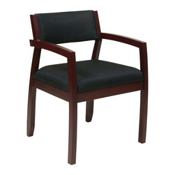 Office Star - Office Star Napa Mahogany Guest Chair With Upholstered Back in Black Fabric - Napa Mahogany Guest Chair With Upholstered Back (1-Pack) What's included: Guest Chair (1).