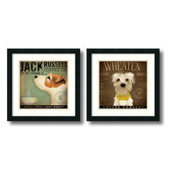 Amanti Art - Coffee Dogs - Set by Stephen Fowler - Put a wonderful pups on your wall with this charming pieces by artist Stephen Fowler.