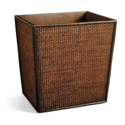 Frontgate - Palm Island Woven Twill Waste Basket - Frontgate - Crafted from rattan. Keep letters, papers, pens and other items neatly organized. Unifies work area for a professional look. Magazine Holder has integrated handles. Tropically inspired, our Palm Island Desk Accessories are woven of natural rattan. These handsome and functional pieces are suited for the executive suite as well as the home office.. . . .