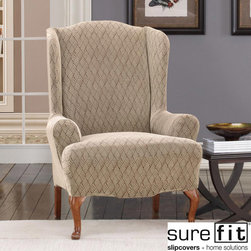 Sure Fit - Stretch Braid Camel Wing Chair Slipcover - This versatile chair slipcover creates an instant update for your favorite furniture. Slip the stretch-braided cover over a wing chair with ease and add a pillow that complements the camel color. The machine-washable fabric is easy to care for.