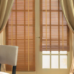 """Levolor Wood Blinds - 1"""" Premium Wood Blinds. Whites and off-whites,Neutrals and - 1"""" Premium Wood Blinds - Buy with Confidence, Get Free Samples Today!Levolor 1"""" Real Wood Blinds from Blinds.com are ideal for windows with shallow window frames or French doors. Available in an elegant assortment of painted and stained finishes, these blinds are built to last. Upgrade your blinds with 1/2""""  Decorative Ladder Tapes, which can coordinate or contrast with your decor, and will cover the route holes for added privacy."""