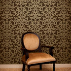 Donatella Damask Stencil - Donatella Damask Wall Stencil from Royal Design Studio Stencils. This hand painted, allover, wall pattern is fantastic in dining rooms, powder rooms and Master Bedrooms. It adds Old World, Tuscan ambience to any space.