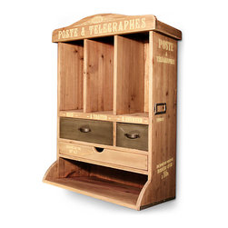 French Mailbox - Natural - Add an elegantly traditional air to an office or entryway space while also bringing in the warm, rustic tones of raw wood. The Natural French Mailbox provides drawers and slots for various stamps, stationery, and other necessities of daily household business. This sturdy piece is ideal for creating a small secretary on a demilune table or for completing your home studio's functionality.