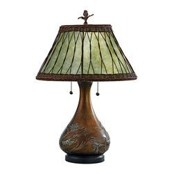Quoizel - Quoizel Brzd Bse Lamps - SKU: MC120T - Features a soft green mica shade with a wicker overlay, and bronzed base with an embossed pine branch motif.