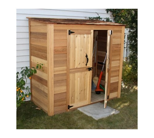 Outdoor Living Today GGC63SR Grand Garden Chalet 6 x 3 ft. Storage Shed - Clear out that clutter from your garage and put things in order with the Outdoor Living Today GGC63SR Grand Garden Chalet 6 x 3 ft. Storage Shed. Made with attractive, sturdy Western red cedar, this tool shed features adjustable shelves on one side and a full-height space on the other, so you can arrange your tools and gardening supplies just how you see fit. Functional double doors and a cedar shingle roof add to the elegance of this tool shed, earning the name Grand Garden Chalet. Assembly is a weekend project for one or two people. One-year limited warranty included. Dimensions Exterior: 6.25W x 3D x 5.8H feet Interior: 6.1W x 2.75D x 5.6H feet Door: 3.3W x 5.2H feet About Cedar WoodCedar wood is lightweight and resistant to both cracking and moisture rot. The oils of this resilient wood guard against insect attack and decay, and their distinctive aroma acts as a mild insect repellant. Cedar is a dependable choice for outdoor furniture, either as a finished or unfinished wood. Over time, unfinished cedar left outdoors will weather to a silvery gray patina. This natural process does not compromise the strength or integrity of the wood. Another great aspect of cedar is its environmental effect - which is minimal. A renewable resource, cedar wood emits low greenhouse gases. So rest assured knowing that your beautiful cedar furniture is a green choice, too!For your convenience, liftgate service is included with this purchase. This means that upon delivery, the carrier will use a liftgate on the truck to lower your item to the ground. You will then need a dolly or handtruck, or assistance with the product from that point on. Many retailers charge for this service of getting the package off the truck or require the customer to do it themselves.About Outdoor Living TodayOutdoor Living Today has a simple goal. That goal is to provide the best wood products to the marketplace at the best value. Established in 1974, Outdoor Living Today has a well-earned reputation for making products that are functional, durable, attractive, and affordable. Products are designed so that the average person with limited building skills can assemble them. Gazebos, sheds, playhouses, and pergolas are all uniquely designed and constructed from beautiful Western red cedar.