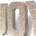 'Joy' Glass Glitter Christmas Decor by Flea Market Sunday - Sparkly glitter letters for the wall or the window ledge would be so fun.