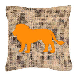 Caroline's Treasures - Lion Burlap and Orange Fabric Decorative Pillow BB1009 - Indoor or Outdoor Pillow made of a heavy weight canvas. Has the feel of Sunbrella fabric. 14 inch x 14 inch 100% Polyester Fabric Pillow Sham with Pillow form. This Pillow is made from our new canvas type fabric can be used Indoor or outdoor. Fade resistant, stain resistant and Machine washable.