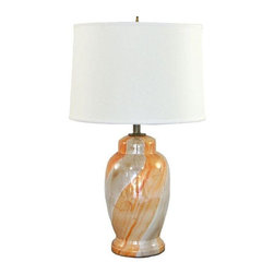 Pre-owned Vintage Orange and Cream Lamp with Silk Shade - Neutral tones with a hint of creamy orange pop make this lamp pretty dreamy. Vintage MidCentury lamp along with the silk lampshade. A vintage, one of a kind, mid-Century Modern ceramic lamp, with professional rewiring, a silk lampshade included and original finial and harp.