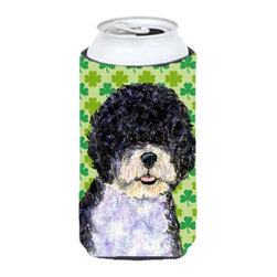 Caroline's Treasures - Portuguese Water Dog St. Patrick's Day Shamrock Tall Boy Koozie Hugger - Portuguese Water Dog St. Patrick's Day Shamrock Tall Boy Koozie Hugger Fits 22 oz. to 24 oz. cans or pint bottles. Great collapsible koozie for Energy Drinks or large Iced Tea beverages. Great to keep track of your beverage and add a bit of flair to a gathering. Match with one of the insulated coolers or coasters for a nice gift pack. Wash the hugger in your dishwasher or clothes washer. Design will not come off.