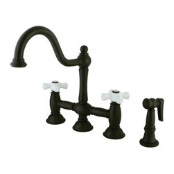 """Kingston Brass - 8"""" Deck Mount Kitchen Faucet with Brass Sprayer - This faucet consists of stylish, immaculate body work and a traditional look compliant to those who desire the classic style design. The faucet has a double handle deck mount setup and features an 8"""" centerset platform. The body is fabricated from solid brass for durability and long-lasting use. The color finish is made of oil-rubbed bronze for that dark vintage look, as well as resisting scratches, corrosion and tarnishing. The spout rotates 360 degrees for accessibility and convenience. The handle acts as a 1/4-turn on/off water control mechanism for easy management of water volume and temperature. The faucet operates with a ceramic disc valve for droplet-free functionality with the water measured 2.2 GPM (8.3 LPM) and a 60 PSI maximum rate. An integrated removable aerator is inserted beneath the spout's head piece for conserving water flow. A 10-year limited warranty is provided to the original consumer. Brass sprayer included.; Includes Brass Sprayer; 1/4 Turn Ceramic Disk Cartridge; Porcelain Cross Handle; 9"""" Victorian Spout with a 8-1/2"""" spout clearance; 4 Hole Installation; Material: Brass; Finish: Oil Rubbed Bronze Finish; Collection: Restoration"""