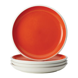 Rachael Ray - Rachael Ray Dinnerware 'Rise' Orange 4-piece Stoneware Dinner Plate Set - With their eye-catching style and two-tone hues, these plates add dynamic mix-and-match capabilities to other pieces in the entire Rise collection to create a personalized table setting. The dinner plate set is crafted from durable glazed stoneware.