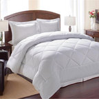 None - All-Occasions Down Alternative White Diamond 3-piece Comforter Set - This reversible down alternative comforter will allow you to enjoy year-round comfort. The 100-percent polyester diamond-sewn stitch comforter is filled with polyester cluster fibers that mimic the feel of down.