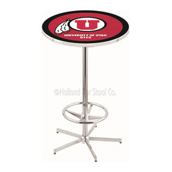 Holland Bar Stool - Holland Bar Stool L216 - 42 Inch Chrome Utah Pub Table - L216 - 42 Inch Chrome Utah Pub Table  belongs to College Collection by Holland Bar Stool Made for the ultimate sports fan, impress your buddies with this knockout from Holland Bar Stool. This L216 Utah table with retro inspried base provides a quality piece to for your Man Cave. You can't find a higher quality logo table on the market. The plating grade steel used to build the frame ensures it will withstand the abuse of the rowdiest of friends for years to come. The structure is triple chrome plated to ensure a rich, sleek, long lasting finish. If you're finishing your bar or game room, do it right with a table from Holland Bar Stool.  Pub Table (1)