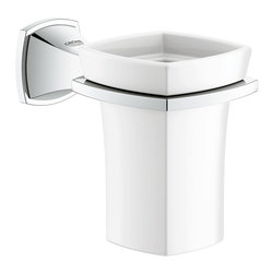 Grohe 40626000 Starlight Chrome Grandera Ceramic Tumbler with Wall Mount - Bring style to every detail of your bathroom with the Grander tumbler. Square with a touch of round, simple with a touch of extravagance.