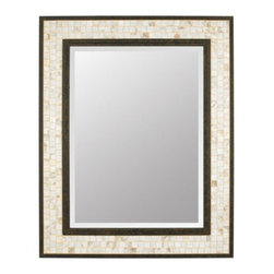 Quoizel - Monterey Mosaic Mirror-Rectangle by Quoizel - The Quoizel Monterey Mosaic Mirror-Rectangle features a lovely mosaic design on the glass shades made from genuine pen shell, bringing the beauty of nature into your home. It looks as wonderful in a beach house as it does in a modern loft. The steel frame is finished in a handsome Malaga. For more than 80 years, Quoizel (based in Charleston, SC) has dedicated itself to bringing timeless lighting designs into modern homes. By consciously avoiding design fads, consistently balancing form and function and using only the highest quality materials, Quoizel lighting designs do indeed stand the test of time.