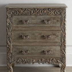 Horchow - Vineyard Chest - Talk about a show-stopper. This ornately detailed chest is hand carved in an Italian vineyard motif right down to the drawer pulls. Striking as a stand alone, a pair adds visual drama to the room when used as nightstands or side tables to flank a bed or...