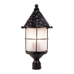 Elk Lighting - Elk Lighting Rustica Traditional Outdoor Post Lantern X-KB-983 - Bring Storybook Flair To An Old English, Cottage Or Spanish Revival-Style Home With The Rustica Collection. Hand-Hammered Iron And Scavo Seedy-Glass Cylinders Characterize This Series, Which May Be Ordered In Matte Black (Bk) With White Scavo Glass And Antique Copper (Ac) With Amber Scavo Glass.  They May Be Used In Both Indoor And Outdoor Locations.  (Ul Listed).