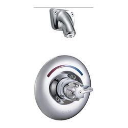 Delta Faucet Company - Delta T13H163 Shower Valve Trim with Blade Handle and Single Function Showerhead - Delta T13H163 Shower Valve Trim with Metal Blade Handle and Vandal Resistant Single Function Showerhead, Single Handle, Chrome