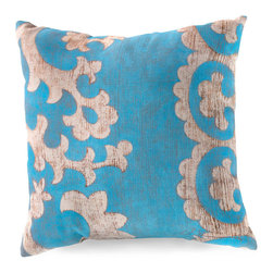 Teal Branch Outdoor Pillow - Asymmetrical and over scale with a printed texture that mimics the placement of paint brushed on wood, the design of the Teal Branch Outdoor Pillow incorporates lacy scallops as well as a portion of a wandering botanical pattern. These filigree motifs are perfect for playing with size expectations, especially when paired with arabesque, tile, or lace designs of a smaller scale.