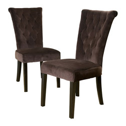 Great Deal Furniture - Paulina Dining Chairs (Set of 2), Chocolate Brown - The Paulina dining chair provides style and elegance to any room. The sturdy construction and soft material will have you and your guests sitting in luxury. Use as a dining chair or as accent chairs in any room or office.