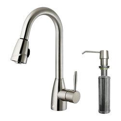Vigo - Vigo Pull-Out Spray Kitchen Faucet with Soap Dispenser (VG02014STK2) - Vigo VG02014STK2 Pull-Out Spray Kitchen Faucet with Soap Dispenser, Stainless Steel