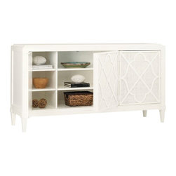 Lexington - Tommy Bahama Home Ivory Key Hawkins Point Buffet - The three touch latch doors with decorative fretwork over woven raffia panels open to reveal six adjustable shelves.