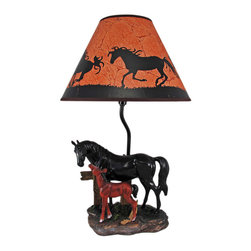 Zeckos - Black Mare and Foal Horse Table Lamp w/ Shade - This awesome table lamp features a black mare with her brown foal. Measuring 19 inches tall, including the silhouette horse print 12 inch diameter shade, the lamp is a wonderful decorative accent for horse lovers. It uses regular sized light bulbs up to 60 watts.