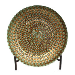 ecWorld - Casa Cortes Hand-Painted Pearl Artisan Glass Decorative Plate with Stand - Sporting a pattern inspired by nature herself, this Han-painted Glass Decorative Plate showcases a stunning weave pattern that will breathe fresh new life into your decor.