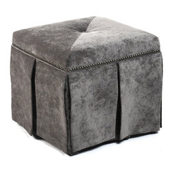 Kathy Kuo Home - Raquel Hollywood Regency Gray Velvet Kick Pleat Ottoman - Your feet will never be treated better than when cushioned on the silvery glamour of this velvet skirted ottoman. This boxy little beauty adds a touch of old Hollywood to your contemporary d�cor and will have you swooning on its decadent fabric before long.