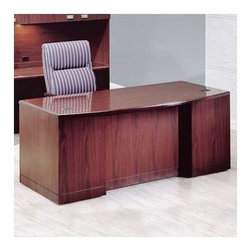 """High Point Furniture - Vitality 72"""" W 3/4 Double Pedestal Bow Front Executive Desk with Drawers - Vitality presents solutions for all areas and levels of an organization. The furniture is constructed for high quality and long-term durability. Tops are high gloss, high-pressure laminate for executive level perception and front-line performance. Solid wood edges are shaped and finished for a handcrafted appearance, while a sturdy case-in-shell construction creates rigidity for high quality and long-term durability. Features: -Two box drawers.-Two file drawer, letter or legal filing.-3/4'' thick drawer fronts core, surfaced on both sides with laminate.-Two wire management grommets.-Individual locking pedestals.-Installed center drawer available.-Reversed coped edges for smooth work surface connection.-Tops are 1-3/16'' thick, properly backed and surfaced in a high-gloss high pressure laminate.-Drawer fronts have a 0.75'' particleboard core with hardwood edge surfaced in cherry or maple veneer.-Distressed: No.-Collection: Vitality.Dimensions: -Overall dimensions: 29'' H x 72'' W x 36'' D.-Drawer sides are 1/2'' hardwood veneer.-Drawer bottoms are 1/8'' hardboard grain printed.-Overall Product Weight: 298 lbs.."""