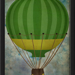 The Artwork Factory - 'Hot Air Balloon 3' Print - Up, up and away! Let your imagination run free when you look at this happy print. Think of floating away to a better place with blue skies and warm breezes. Best not to think how to land the darned thing.