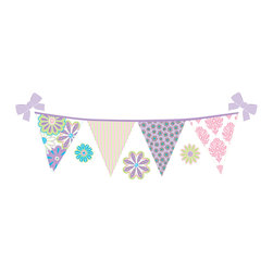 """WallPops - Patchwork Daisy Stripes Wall Decal - On-trend pink, purple, and aqua flowers bring your child's walls to life, as if their decor were inspired by a garden party. The patchwork daisy stripe decals are pretty pennant flags, complete with bows and polka dot flower decals. Patchwork daisy is an adorablegirls' decor idea. Stripes are die-cut and have seven 6.5"""" x 20.5"""" pieces. WallPops are repositionable and always removable."""