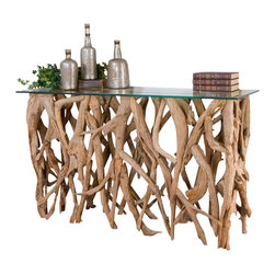 Uttermost - Uttermost Teak Wood Console - Teak Wood Console by Uttermost Reclaimed Teak Wood, Crafted From Its Natural Form Into An Artistic And Precisely Honed Sculpture Beneath Clear Glass.