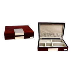 High Gloss Lacquered Valet Box - Walnut Finish - 9.75W x 2.5H in.