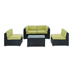 "LexMod - Camfora 5 Piece Outdoor Patio Sectional Set in Espresso Peridot - Camfora 5 Piece Outdoor Patio Sectional Set in Espresso Peridot - Simple and serviceable, the Camfora is a great choice for any backyard. Classically styled furniture crafted out of all weather materials meant to last, this set will please year after year. Enjoy some quality time in the fresh air with the Camfora set. Set Includes: One - Camfora Outdoor Wicker Patio Coffee Table One - Camfora Outdoor Wicker Patio Left Arm Section One - Camfora Outdoor Wicker Patio Right Arm Section Two - Camfora Outdoor Wicker Patio Armless Sections Synthetic Rattan Weave, Powder Coated Aluminum Frame, Water & UV Resistant, Machine Washable Cushion Covers, Easy To Clean Tempered Glass Top, Ships Pre-Assembled Coffee Table Dimensions: 35.5""L x 20""W x 16""H Left Section Dimensions: 33.5""L x 29.5""W x 27.5""H Right Section Dimensions: 33.5""L x 29.5""W x 27.5""H Armless Section Dimensions: 33.5""L x 31.5""W x 27.5""H Seat Height: 12""HBACKrest Height: 27.5""H Armrest Dimensions: 4""W x 27.5""H Cushion Depth: 4""H Overall Product Dimensions: 126""L x 65""W x 27.5""H - Mid Century Modern Furniture."