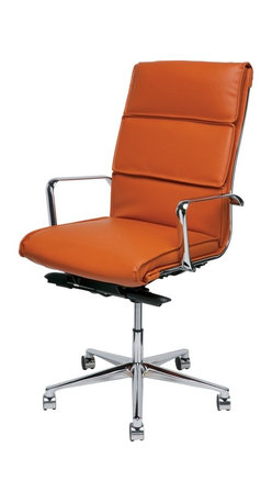 Nuevo - Lucia High-Back Arm Office Chair, Ochre Naugahyde - Nuevo Living is a premier manufacturer of high quality modern furniture and decor. Nuevo Specializes in wonderful original designs, high quality interpretations of modern classics, designer decorating items, and specialty lighting. Creating a modern home environment is easy with Nuevo Modern Designs.