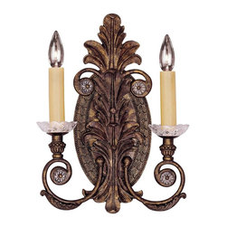 Savoy House - Corsica 2-Light Sconce - Great, Gatsby! The art deco details on this bronze wall sconce would impress  Daisy herself. Adorn your wall in style while harkening back to the jazz age.